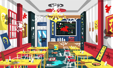 Dirty Pizza Cafe With Modern Furniture, Yellow Table, Red Chair, Wall Picture, Cashir Machine, Classic Lamp For Vector Illustration Interior Ideas