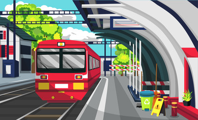 Clean Train Commuter Line Railway Station With Brush And Trash Can, Floor Sign, Train Platform And Sign For Vector Illustration Ideas