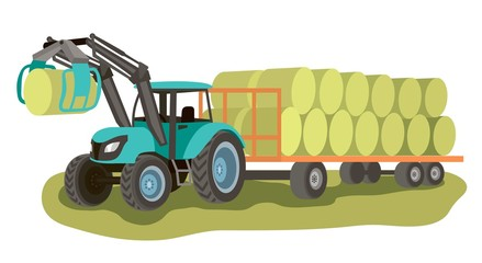 tractor with loader and bales of hay on the cart