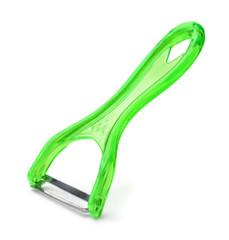 Green plastic vegetable peeler