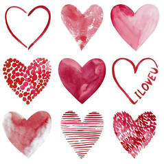 Love cliapart, nine hand-drawn watercolor hearts isolated on white background.