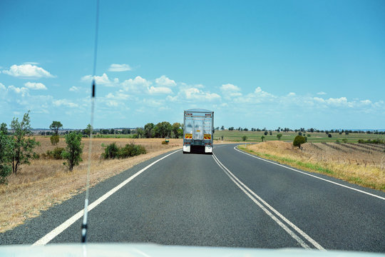 Truck Hauling Freight On Country Highway