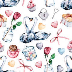 Valentines Day decoration, seamless pattern, watercolor drawing, greeting cards design. Love story illustrations. Isolated on white.
