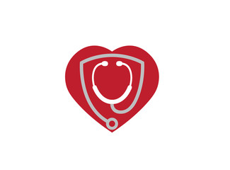 stethoscope inside a heart for rate examination Logo