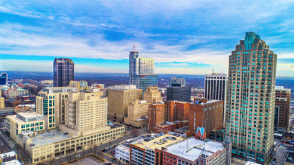 Raleigh, North Carolina, USA Drone City Skyline Aerial
