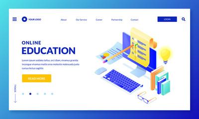 Online computer quiz. Landing page banner design. Vector 3d isometric illustration. Internet education, learning concept