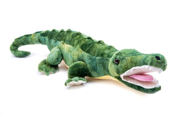 Green soft stuffed toy Crocodile isolated on white background.