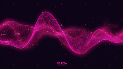 Fotoväggar - Big data red wave visualization. Futuristic infographic. Information aesthetic design. Visual data complexity. Complex business chart analytics. Social network representation. Abstract data graph.