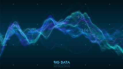 Fotoväggar - Big data blue wave visualization. Futuristic infographic. Information aesthetic design. Visual data complexity. Complex business chart analytics. Social network representation. Abstract data graph.