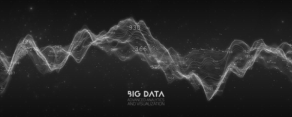 Wall Mural - Big data BW wave visualization. Futuristic infographic. Information aesthetic design. Visual data complexity. Complex business chart analytics. Social network representation. Abstract data graph.