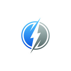 modern electrical blue lightning bolt logo