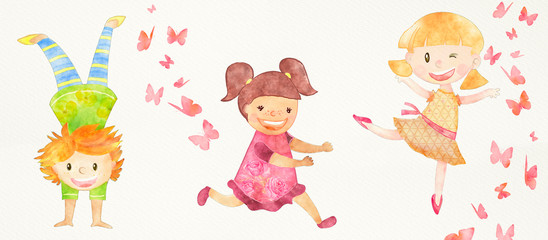 Happy children background. Watercolor
