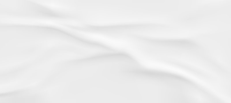 Wrinkled fabric background. White vector wavy cloth.