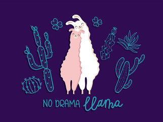Deurstickers Bestsellers Kids Llama in love, animal on white and pink color and text No Drama Llama. Vector illustration. Blue background with many details of cactus and flowers. Flat design.