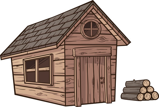 Cartoon wood cabin clip art. Vector illustration with simple gradients. Cabin and logs on separate layers.