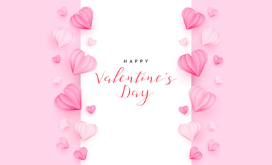 Valentine's Day Greeting Card with Hearts paper cut style. Vector Illustration