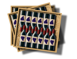 A case of 12 bottles of red wine is shown in this image.