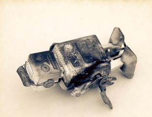 unhappy and beaten robot