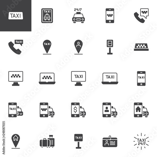 Taxi service vector icons set, modern solid symbol