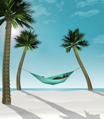 A man relaxes on tropical beach in a hammock./