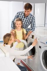 Positive family selecting washing machine