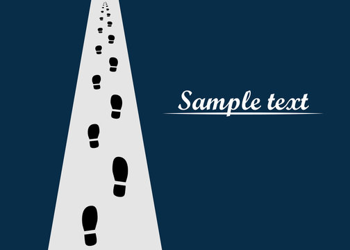 Shoe print on the road going into the distance. Vector illustration of human steps, footprints with space for text.