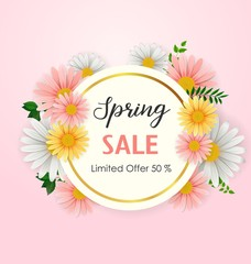 Spring sale background with beautiful flower and round frame
