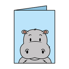 cute little hippo character