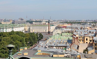 Palace Square - view from the colonnade of St. Isaac's Cathedral. St. Petersburg.