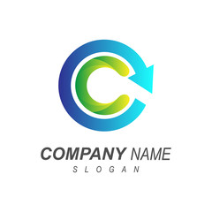 letter c with circle arrow logo template