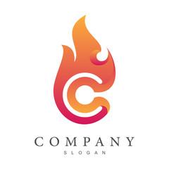 fire letter c logo template