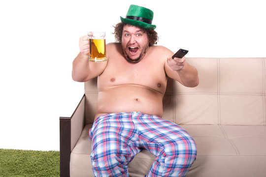 St. Patrick's Day and a funny man watching tv.