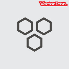 Honeycomb icon isolated sign symbol and flat style for app, web and digital design. Vector illustration.