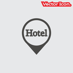 Hotel icon isolated sign symbol and flat style for app, web and digital design. Vector illustration.