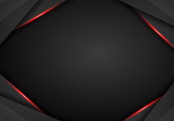 abstract metallic black Red frame sport design concept innovation background