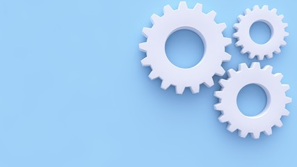 White Gears On The Pastel Blue Background - 3D Illustration