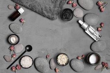 Natural organic cosmetics on grey