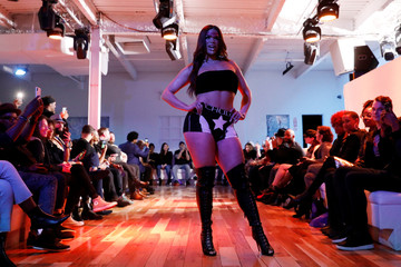 Transgender model Jessica Cortez presents a creation from the CHULO underwear collection during the New York Fashion Week, in a show that raised money for transgender and cisgender young women victims of violence, in New York