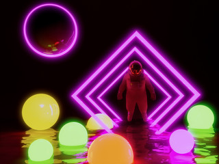 astronaut  and neon ball light background , 3d render