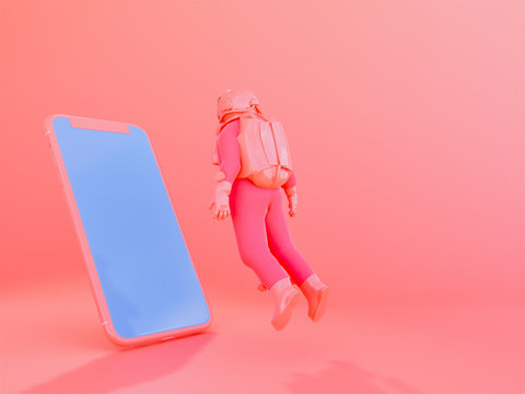 astronaut with mobile phone in Living Coralcolor background  , 3d render