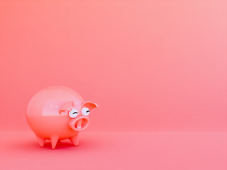 pig in Living coral color background,3d render