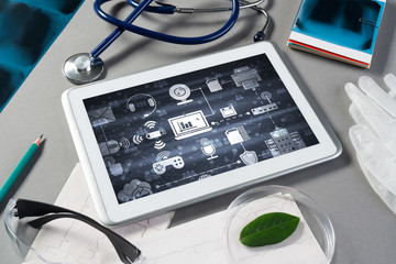 Concept of modern medicine with tablet on table from top view