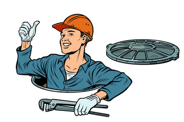gesture like. Plumber in the manhole