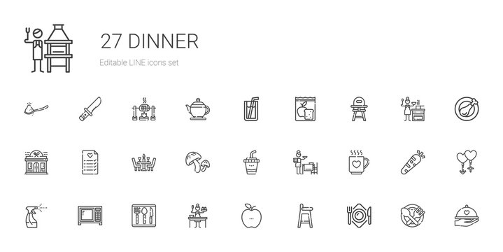 dinner icons set