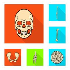 Vector illustration of bone and skeleton logo. Set of bone and human stock symbol for web.