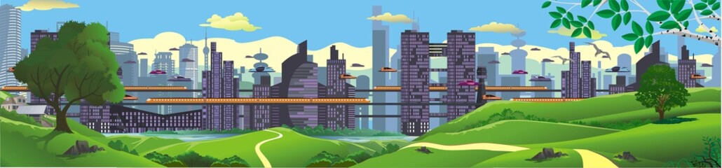 Panorama - landscape. The view from the hilltop to the metropolis of the future.