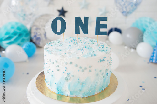 First Birthday Cake Smash One Year Blue Colour