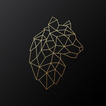 Vector geometric Tiger emblem. Golden Polygonal Tiger illustration isolated on dark background.