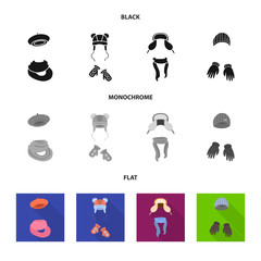 Vector design of clothes  and texture icon. Set of clothes  and weather  vector icon for stock.