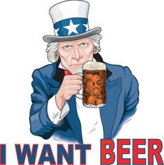 Uncle Sam I Want Beer Vector Illustration